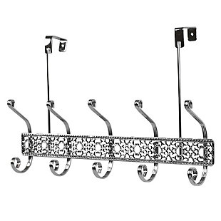 Over-the-Door Five Dual Hook Over the Door Hanging Rack, , large