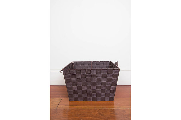 Contemporary Polyester Large Woven Strap Open Bin, Brown, large