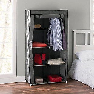 Contemporary 6  Tier Free-Standing Closet, Gray, rollover