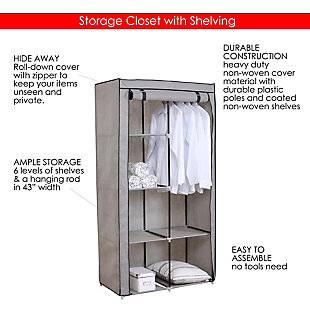 Contemporary 6  Tier Free-Standing Closet, Gray, large