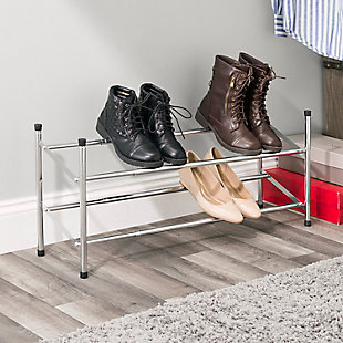 Contemporary Two Tier Expandable Shoe Rack, , rollover