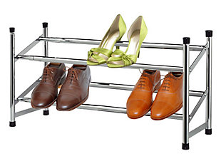 Contemporary Two Tier Expandable Shoe Rack, , large