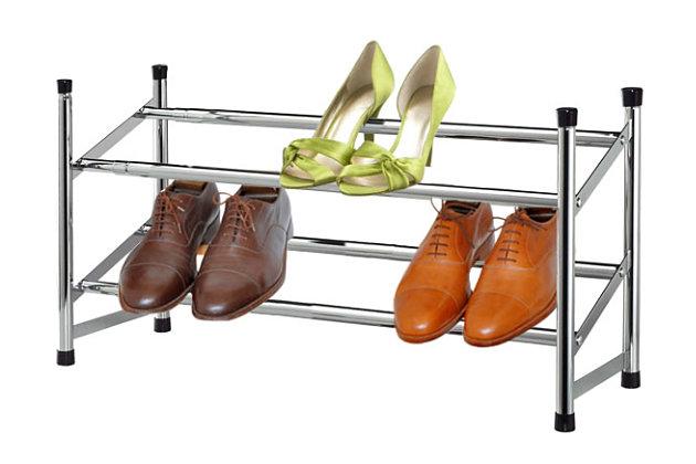 Contemporary Two Tier Expandable Shoe Rack, , large