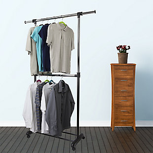 Contemporary 2 Tier Expandable Garment Rack, , rollover