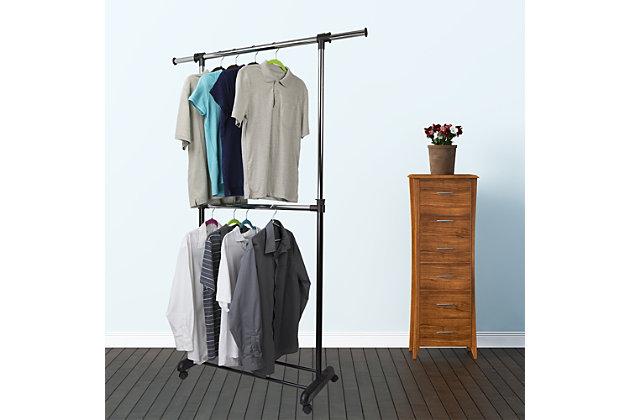 Contemporary 2 Tier Expandable Garment Rack, , large