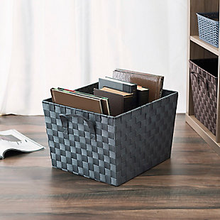 Contemporary Polyester Extra Large Woven Strap Open Bin, Gray, rollover