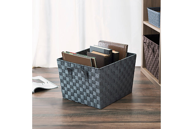 Contemporary Polyester Extra Woven Strap Open Bin, , large