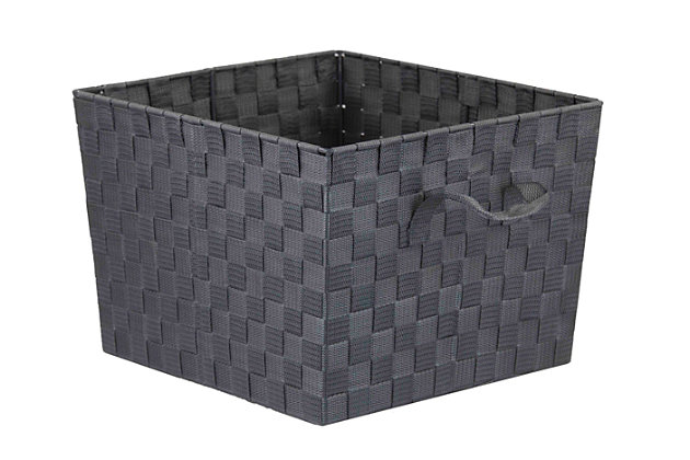 Contemporary Polyester Extra Large Woven Strap Open Bin, Gray, large