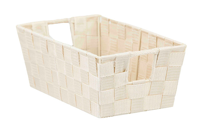 Contemporary Polyester Small Woven Strap Open Bin, Ivory, large