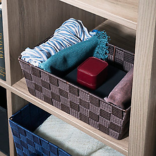 Contemporary Polyester Small Woven Strap Open Bin, Brown, rollover