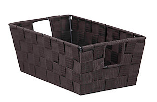 Contemporary Polyester Small Woven Strap Open Bin, Brown, large