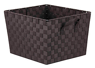 Contemporary Polyester Extra Large Woven Strap Open Bin, Brown, large