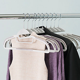 Contemporary Non-Slip Hangers (Set of 10), White, rollover