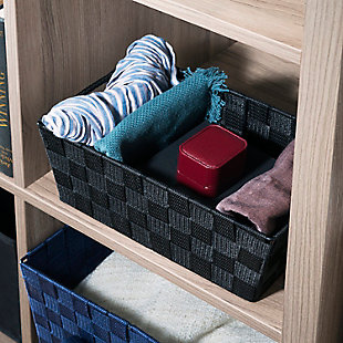 Contemporary Polyester Small Woven Strap Open Bin, Black, rollover