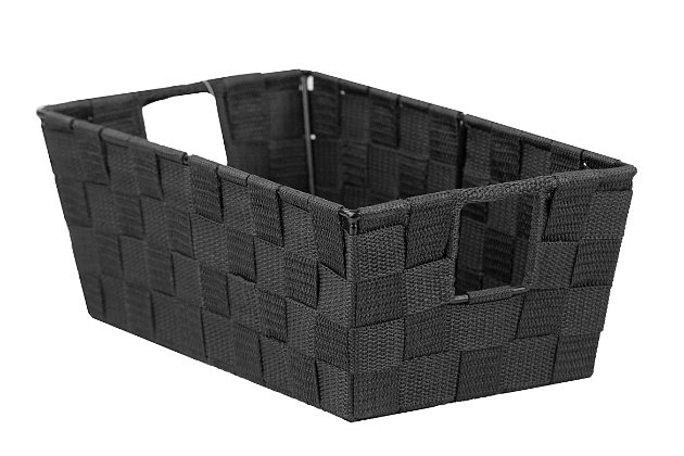 Contemporary Polyester Small Woven Strap Open Bin, Black, large