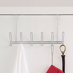 Over-the-Door Six Dual Hook Over the Door Hanging Rack, , rollover