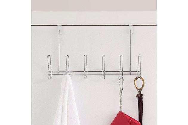 Over-the-Door Six Dual Hook Over the Door Hanging Rack, , large