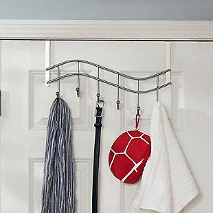 Over-the-Door Six Hook Over the Door Hanging Rack, , rollover