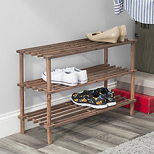 Contemporary Three Tier Shoe Rack, Cherry, rollover