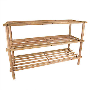 Contemporary Three Tier Shoe Rack, Cherry, large