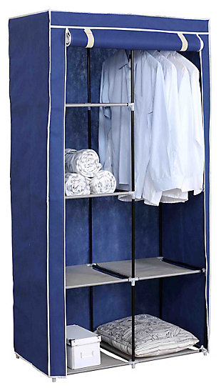 Contemporary 6  Tier Free-Standing Closet, Navy, large