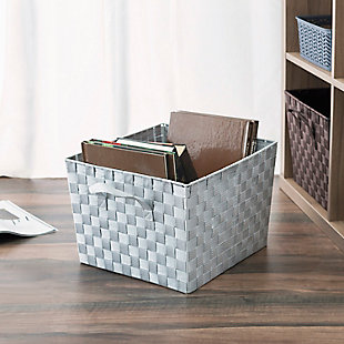 Contemporary Polyester Extra Large Woven Strap Open Bin, Mint, large
