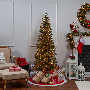 Sterling 6.5-Foot High Pre-Lit Natural Cut Narrow Jackson Pine with Clear White Lights, , large