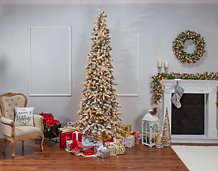 Sterling 9Ft. Flocked Narrow Pencil Pine with 650 clear lights, , large