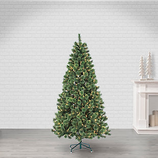 Sterling 7ft. Pre-Lit Hard Needle Deluxe Cashmere Pine with 550 Clear Lights, , rollover