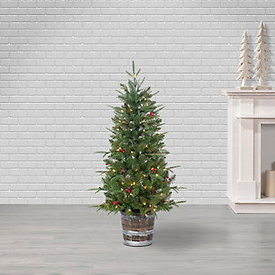 Sterling 4-foot Natural Cut Hudson Pine with Pine Cones and Red Berries and 100 Warm White Lights, , rollover