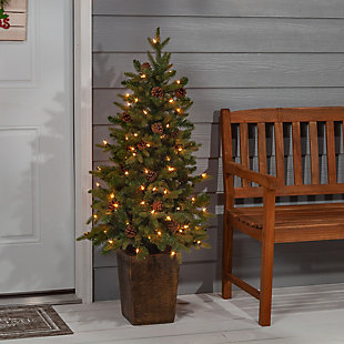 Sterling 4Ft. Potted Natural Cut Georgia Pine with 100 clear lights, , rollover
