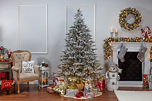Sterling 7.5-Foot High Flocked Pre-Lit Natural Cut Redwood Pine with Warm White LED Lights, , rollover