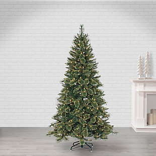 Sterling 7.5Ft. Hard/Mixed Needle Gold Glitter Cashmere Pine with 500 Clear Incandescent Lights, , large