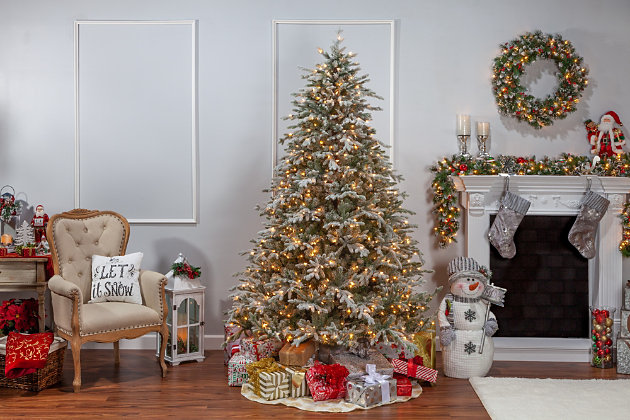 Sterling 7 5ft Lightly Flocked Natural Cut Olympia Fir With 800 Clear Lights Ashley Furniture Homestore