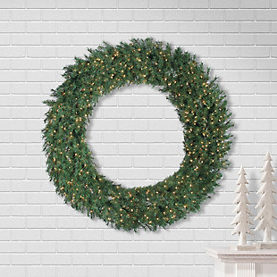 Sterling 60-inch Diameter Aspen Spruce Wreath with 600 Warm White Lights, , large