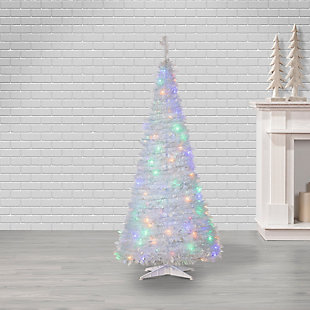 Sterling 6-Foot High Pop Up Pre-Lit White Pine Tree with Multi-Color Lights, , rollover