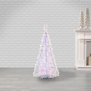 Sterling 4-Foot High Pop Up Pre-Lit Iridescent Pine Tree with Warm White Lights, , large