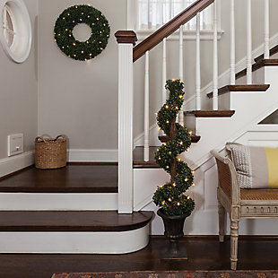 Sterling 4Ft. Pre-Lit Potted Boxwood Spiral Tree with 35 Clear Lights, , rollover