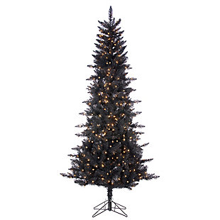 Sterling 7.5Ft. Black Tuscany Tinsel Tree with 450 Warm White Incandescent Lights, , large