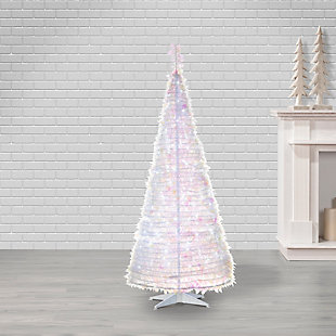Sterling 6-Foot High Pop Up Pre-Lit White Pine Tree with Warm White Lights, , large