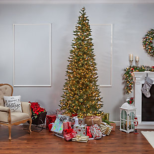 Sterling 9-Foot High Pre-Lit Natural Cut Narrow Jackson Pine with Clear White Lights, , rollover