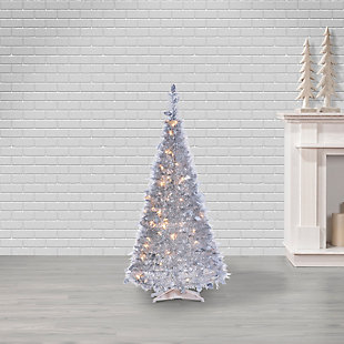 Sterling 4-Foot High Pop Up Pre-Lit Silver Tinsel Tree with Holy Leaves, , rollover