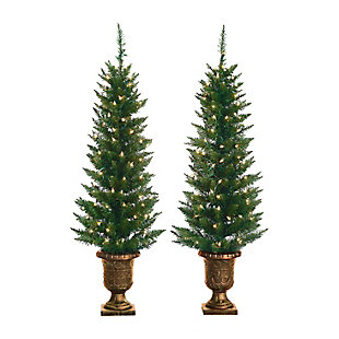 Sterling 4Ft. Potted Cedar Pine Trees with 100 Clear Lights (Set of 2), , large