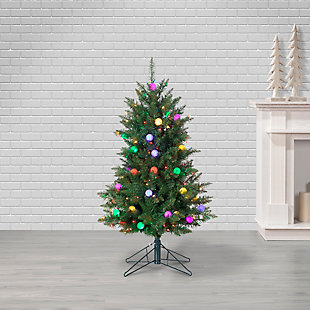Sterling 4Ft. Pre-Lit Derby Pine with 200 Multi-colored incandescent lights and 35 G40 Multi-Colored LED Plastic Bulbs, , rollover
