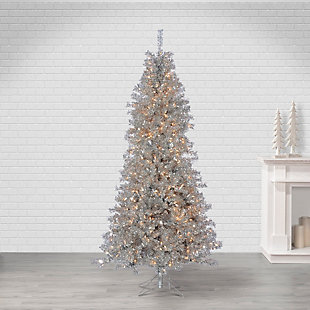 Sterling 7.5Ft Silver Curly Tinsel Tree with 550 Clear Lights, , rollover