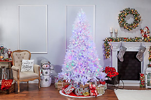 Sterling 7.5Ft. White Parkview Pine with 600 Color-Changing LED Lights, , rollover