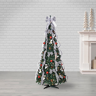 Sterling 6-Foot High Pop Up Pre-Lit Green Decorated Pine Tree with Warm White Lights, , rollover