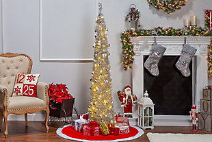 Sterling 6-Foot High Pop Up Pre-Lit Decorated Narrow Silver Tinsel Tree with Warm White Lights, , rollover
