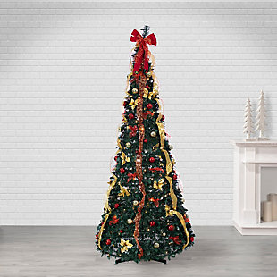 Sterling 7.5-Foot High Pop Up Pre-Lit Green Decorated Pine Tree with Warm White Lights, , rollover