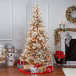 Sterling 7.5Ft. Heavily Flocked Layered Spruce with 550 clear lights, , rollover